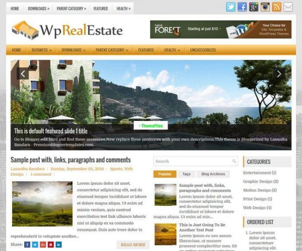 WpRealEstate Blogger Template - www.themefiles.us