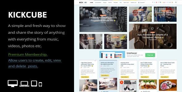 KICKCUBE v3.2 - Membership & User Content Sharing Theme